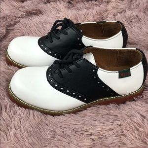 GH Bass And Co Black White Westward Saddle Shoes